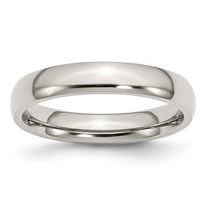 Stainless Steel Domed 4mm Polished Comfort Fit Band - The Black Bow Jewelry Co.