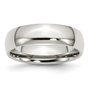 Stainless Steel Domed 6mm Polished Comfort Fit Band - The Black Bow Jewelry Co.