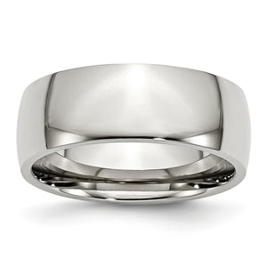 Stainless Steel Domed 8mm Polished Comfort Fit Band - The Black Bow Jewelry Co.