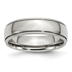 Stainless Steel Beaded Edge 6mm Polished Comfort Fit Band - The Black Bow Jewelry Co.