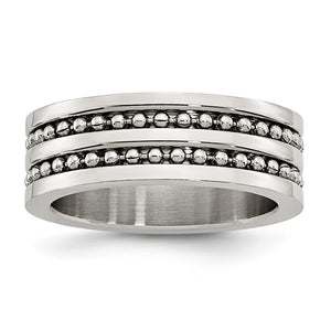 Stainless Steel 8mm Double Row Beaded Comfort Fit Band - The Black Bow Jewelry Co.