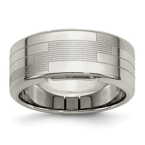 8mm Stainless Steel Textured Comfort Fit Band - The Black Bow Jewelry Co.