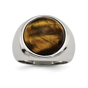 Men's 20mm Stainless Steel Tiger's Eye Tapered Ring - The Black Bow Jewelry Co.