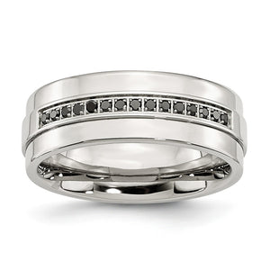 8mm Stainless Steel & 1/6 Ctw Blk Diamond Ridged Edge Comfort Fit Band - The Black Bow Jewelry Co.
