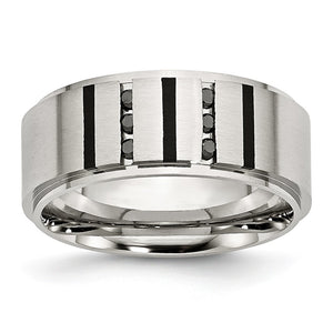 9mm Stainless Steel & 1/6 Ctw Black Diamond Ridge Comfort Fit Band - The Black Bow Jewelry Co.