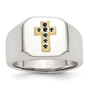 Stainless Steel 14K Yellow Gold Accent w Sapphires Cross Ring - The Black Bow Jewelry Co.