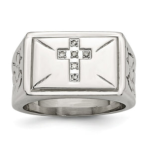Stainless Steel And .05 Ctw H-I, I2 Diamond Cross Tapered Ring - The Black Bow Jewelry Co.