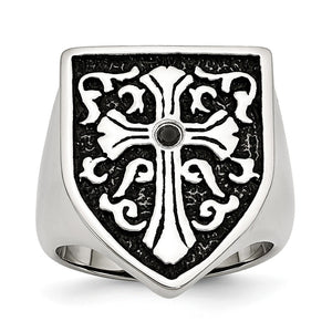 Stainless Steel And Black Diamond Cross Shield Ring - The Black Bow Jewelry Co.