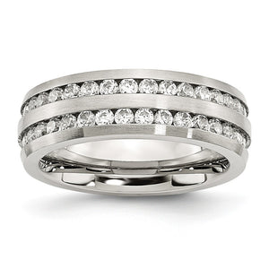 7mm Stainless Steel And Cubic Zirconia Double Row Band - The Black Bow Jewelry Co.
