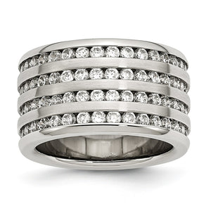 13mm Stainless Steel And Cubic Zirconia Multi Row Band - The Black Bow Jewelry Co.