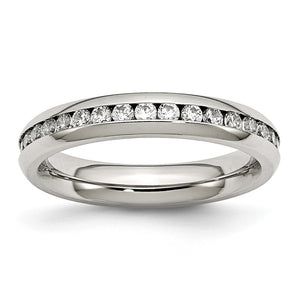 4mm Stainless Steel And Clear Cubic Zirconia Stackable Band - The Black Bow Jewelry Co.