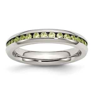 4mm Stainless Steel And Light Green Cubic Zirconia Stackable Band - The Black Bow Jewelry Co.