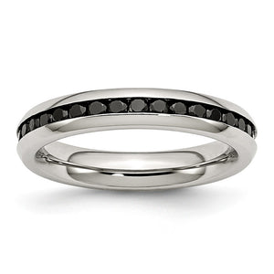 4mm Stainless Steel And Black Cubic Zirconia Stackable Band - The Black Bow Jewelry Co.