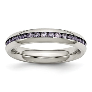 4mm Stainless Steel And Purple Cubic Zirconia Stackable Band - The Black Bow Jewelry Co.
