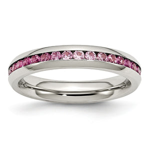 4mm Stainless Steel And Dark Pink Cubic Zirconia Stackable Band - The Black Bow Jewelry Co.