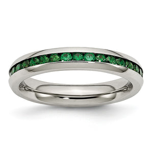 4mm Stainless Steel And Green Cubic Zirconia Stackable Band - The Black Bow Jewelry Co.