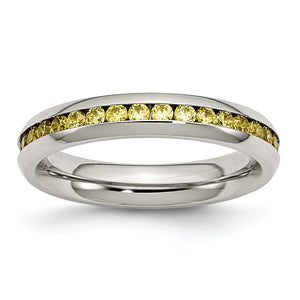 4mm Stainless Steel And Yellow Cubic Zirconia Stackable Band - The Black Bow Jewelry Co.
