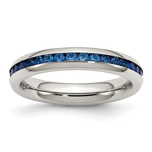 4mm Stainless Steel And Blue Cubic Zirconia Stackable Band - The Black Bow Jewelry Co.