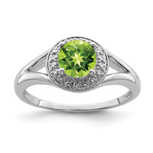 Sterling Silver .01 Ctw Diamond & Round Peridot Ring - The Black Bow Jewelry Co.