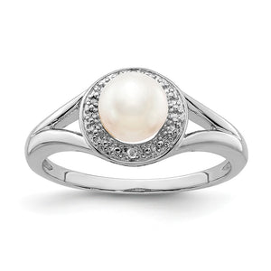 Sterling Silver .01 Ctw Diamond & Cultured Pearl Halo Ring - The Black Bow Jewelry Co.
