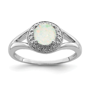 Sterling Silver .01 Ctw Diamond & Round Created Opal Ring - The Black Bow Jewelry Co.