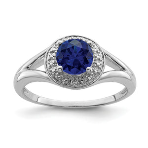 Sterling Silver .01 Ctw Diamond & Round Created Sapphire Ring - The Black Bow Jewelry Co.