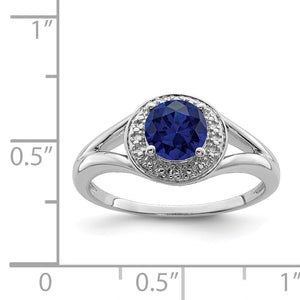Alternate view of the Sterling Silver .01 Ctw Diamond & Round Created Sapphire Ring by The Black Bow Jewelry Co.