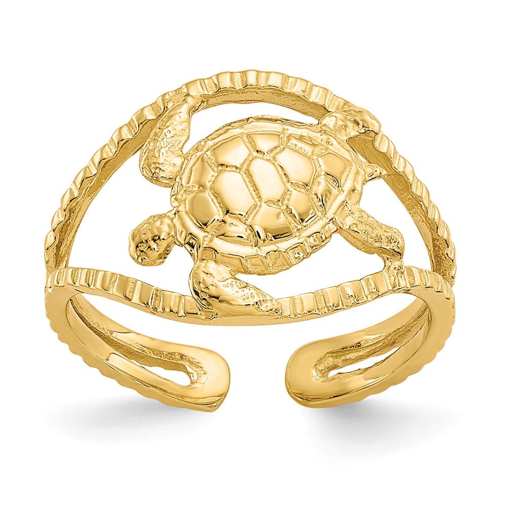 Sea Turtle Toe Ring in 14K Yellow Gold, Item T8003 by The Black Bow Jewelry Co.