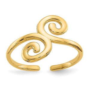 Swirl Toe Ring in 14K Yellow Gold - The Black Bow Jewelry Co.