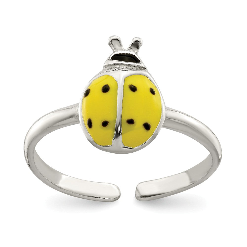 Black Enameled Ladybug Toe Ring in Sterling Silver, Item T8030 by The Black Bow Jewelry Co.
