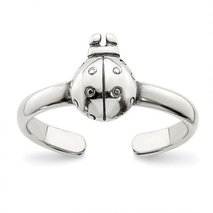 Antiqued Ladybug Toe Ring in Sterling Silver - The Black Bow Jewelry Co.