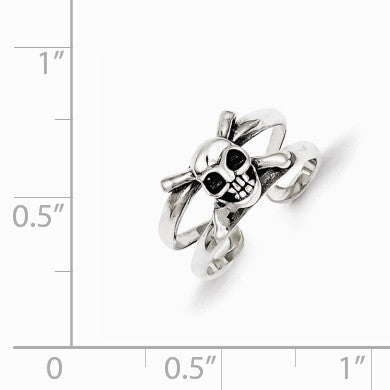 Alternate view of the Antiqued SS Skull and Cross Bones Toe Ring by The Black Bow Jewelry Co.