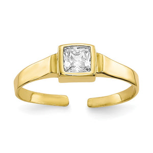 Square Cubic Zirconia Solitaire Toe Ring in 10 Karat Yellow Gold - The Black Bow Jewelry Co.