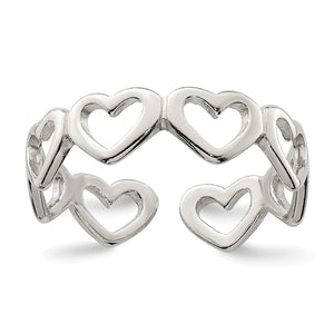 Cut-out Hearts Toe Ring in Sterling Silver - The Black Bow Jewelry Co.