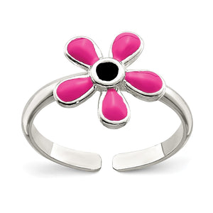 Pink Enameled Flower Toe Ring in Sterling Silver - The Black Bow Jewelry Co.