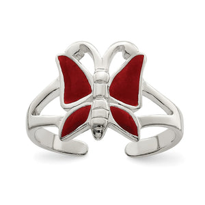 Red Enameled Butterfly Toe Ring in Antiqued Sterling Silver - The Black Bow Jewelry Co.