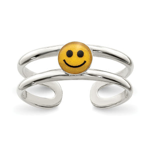 Yellow & Black Enameled Smiley Face Toe Ring in Sterling Silver - The Black Bow Jewelry Co.