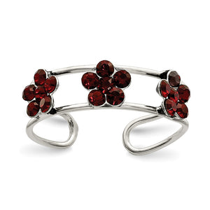 Stellux Red Crystal Floral Toe Ring in Sterling Silver - The Black Bow Jewelry Co.