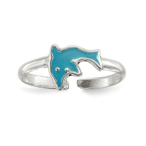 Sterling Silver Blue Enameled Dolphin Toe Ring - The Black Bow Jewelry Co.