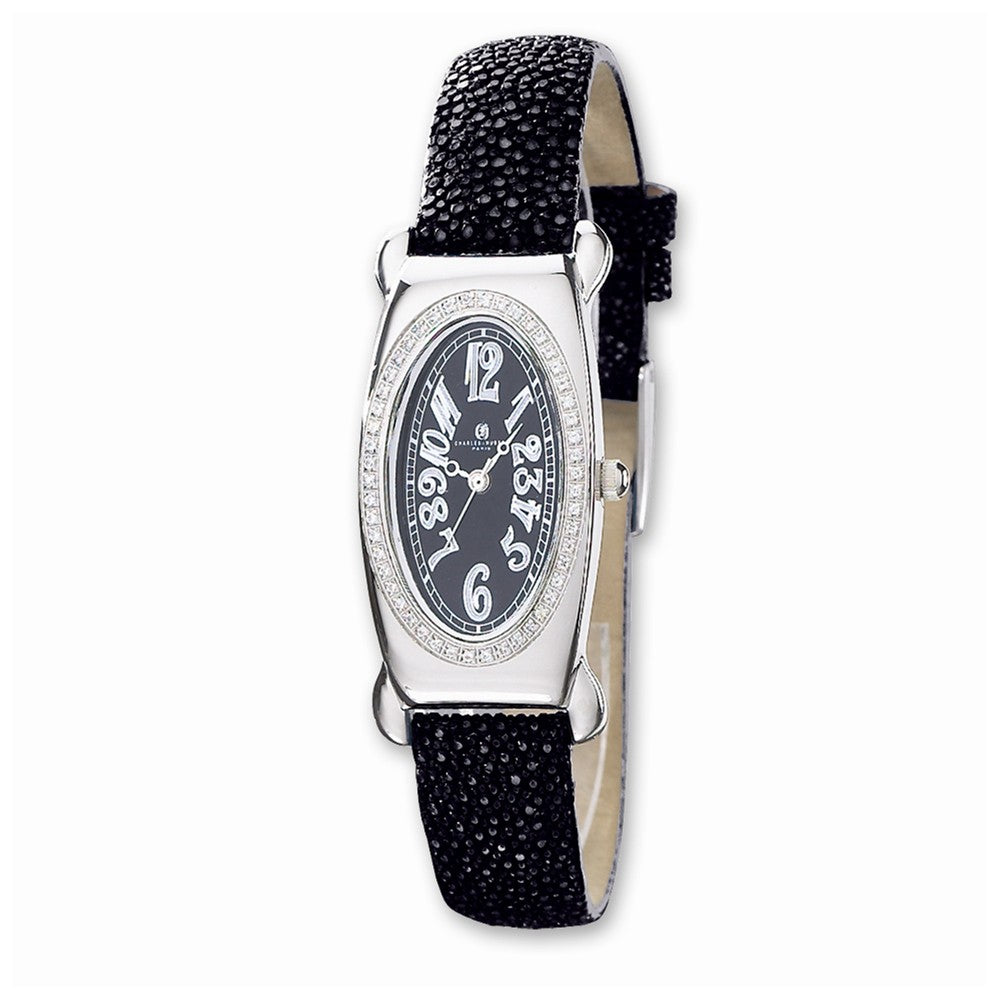 Ladies, Charles Hubert, Black Leather Textured Band, Diamond Watch, Item W8142 by The Black Bow Jewelry Co.
