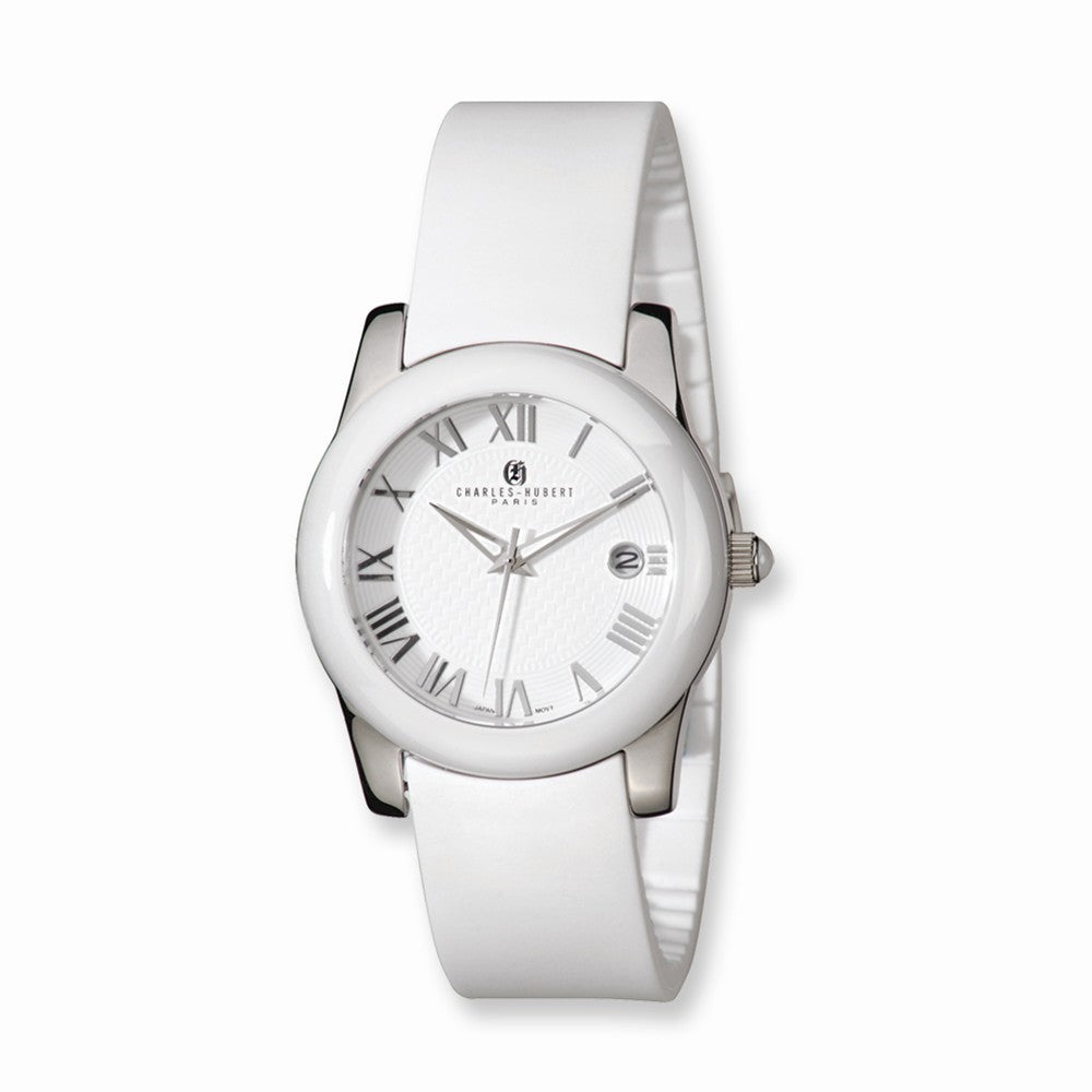 Charles Hubert Ladies Stnlss Stl/Ceramic White Dial Watch, Item W8529 by The Black Bow Jewelry Co.