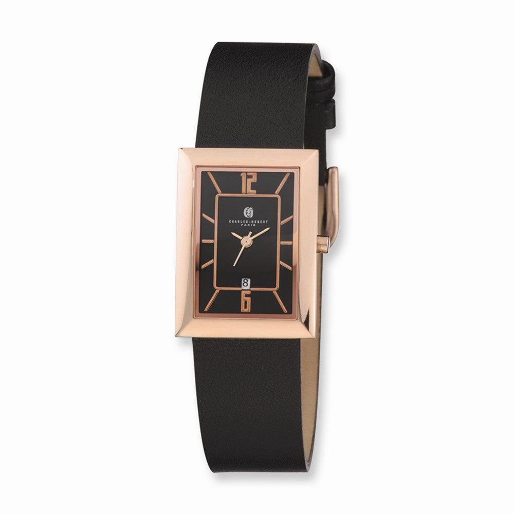 Charles Hubert Ladies Rose Tone & Black Rectangle Dial Quartz Watch, Item W8537 by The Black Bow Jewelry Co.
