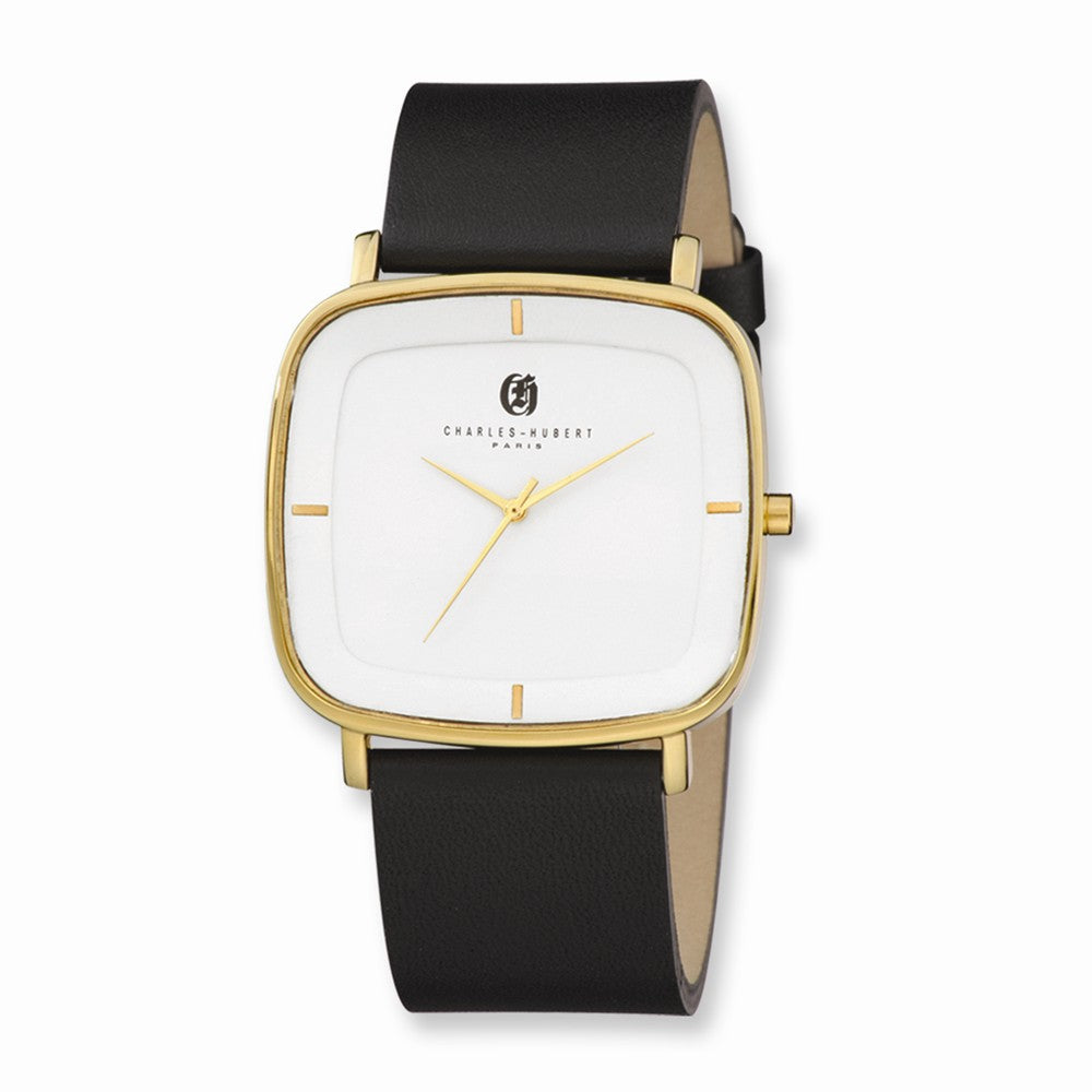 Charles Hubert Mens Gold Tone Stainless Steel White Dial Quartz Watch, Item W8543 by The Black Bow Jewelry Co.