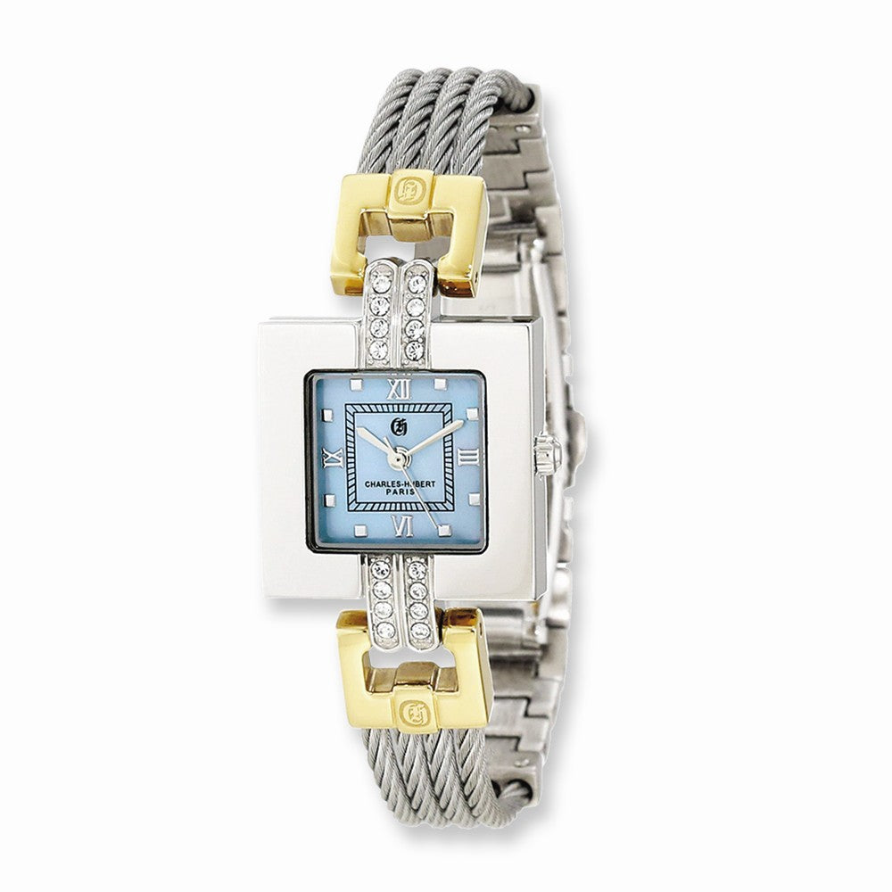 Charles Hubert Ladies 2-Tone MOP Dial Stnlss Stl Wire Bangle Watch, Item W8559 by The Black Bow Jewelry Co.