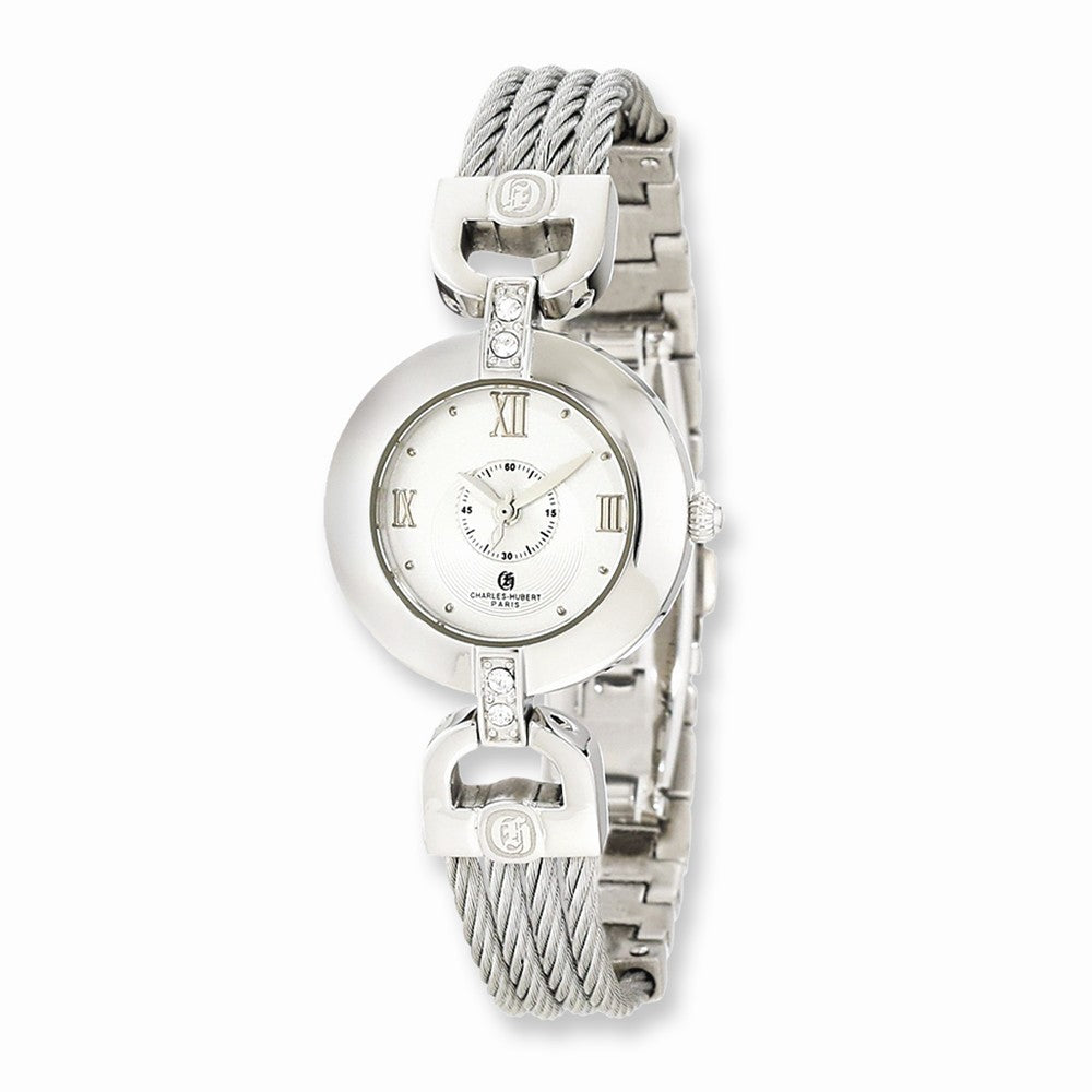 Charles Hubert Ladies Stainless Steel Wire Bangle Silver Dial Watch, Item W8562 by The Black Bow Jewelry Co.