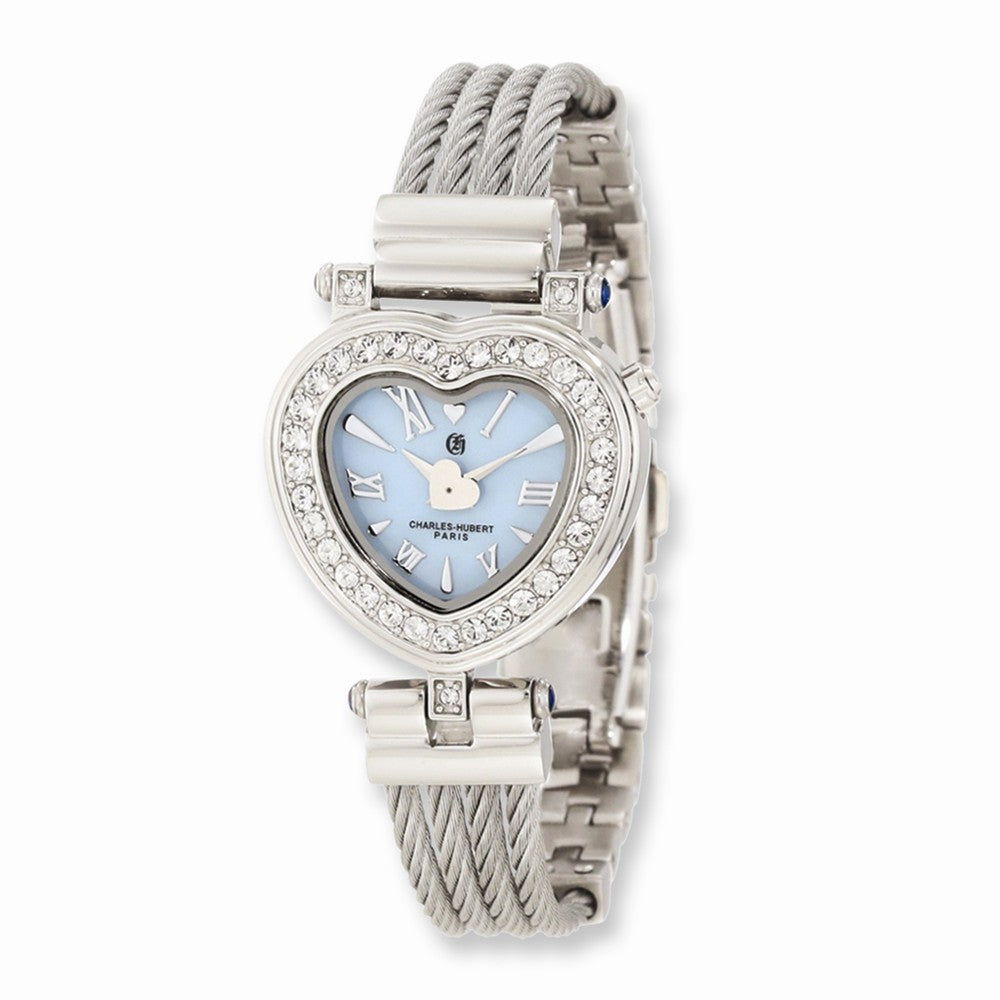 Charles Hubert Ladies Stnlss Stl Bangle Lt Blue MOP Heart Dial Watch, Item W8566 by The Black Bow Jewelry Co.