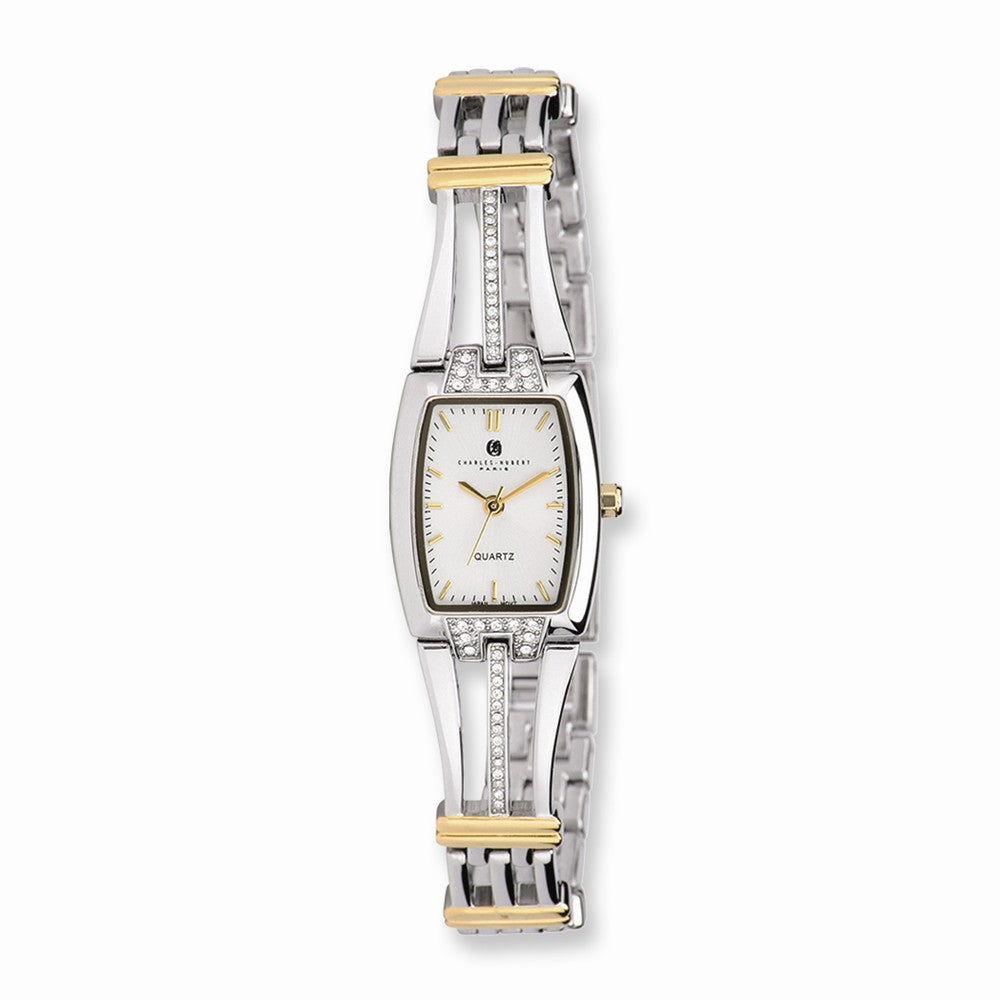 Charles Hubert Ladies 2-Tone, Crystals, Silver Dial Quartz Watch, Item W8571 by The Black Bow Jewelry Co.