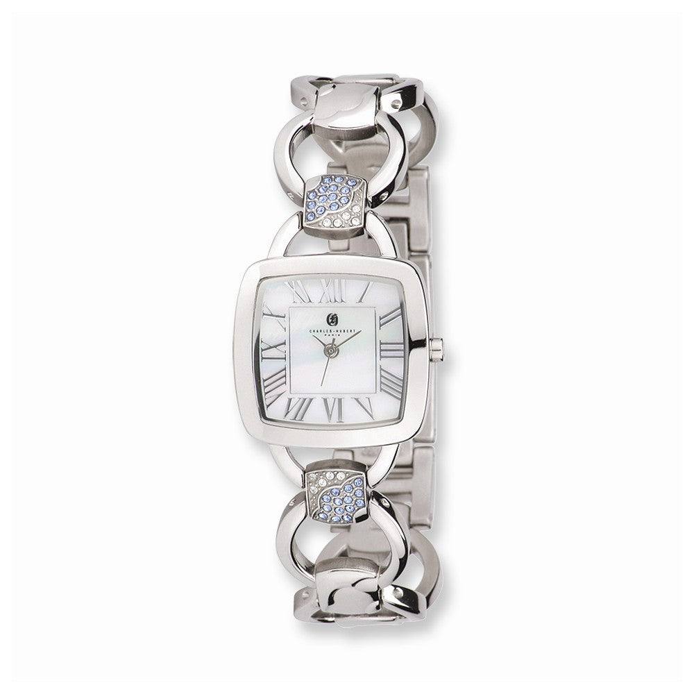 Charles Hubert Ladies Stnlss Stl White MOP Dial Quartz Watch, Item W8572 by The Black Bow Jewelry Co.