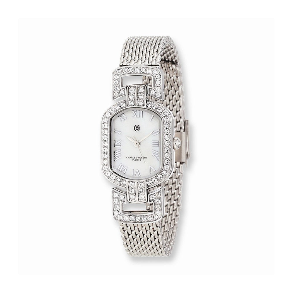Charles Hubert Ladies White MOP Dial Stainless Steel Mesh Band Watch, Item W8579 by The Black Bow Jewelry Co.
