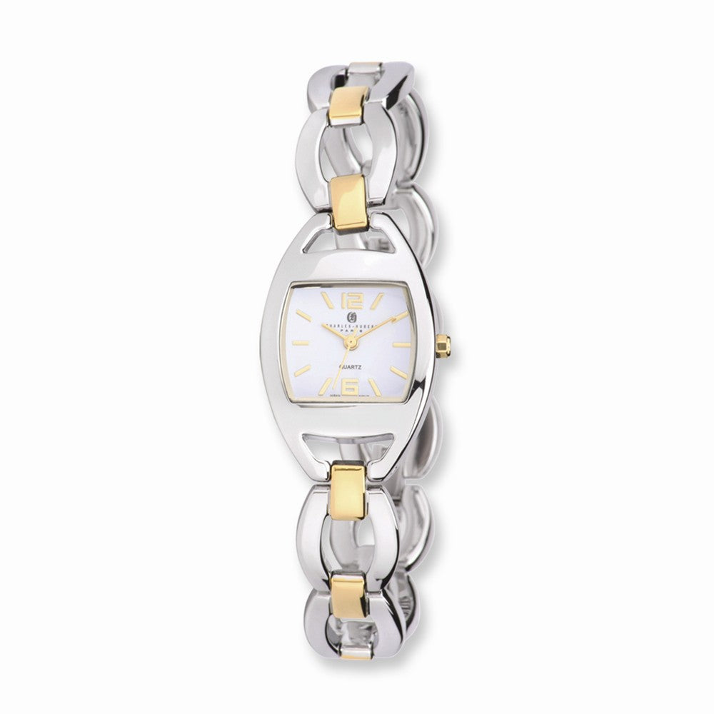 Charles Hubert Ladies Two-Tone White Dial Quartz Watch, Item W8582 by The Black Bow Jewelry Co.